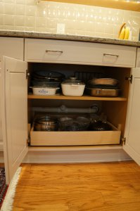 kitchen shelves with a pull out