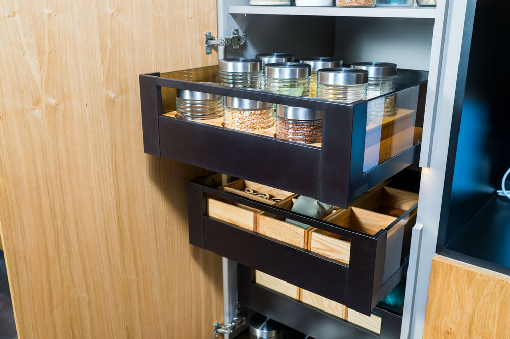 deep cabinets with pull out drawers